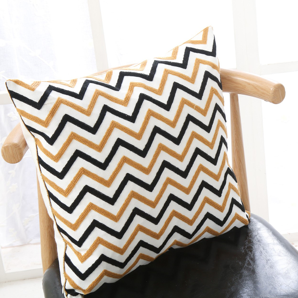 Zig Zag Embroidered Pillowcase